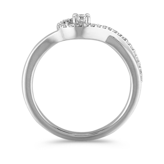 Crossing Swirl Round Diamond Ring in Sterling Silver