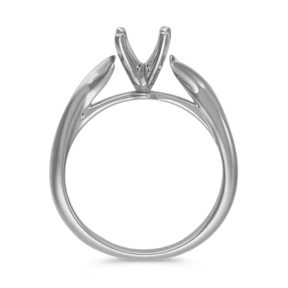 Crossover Swirl Solitaire White Gold Engagement Ring