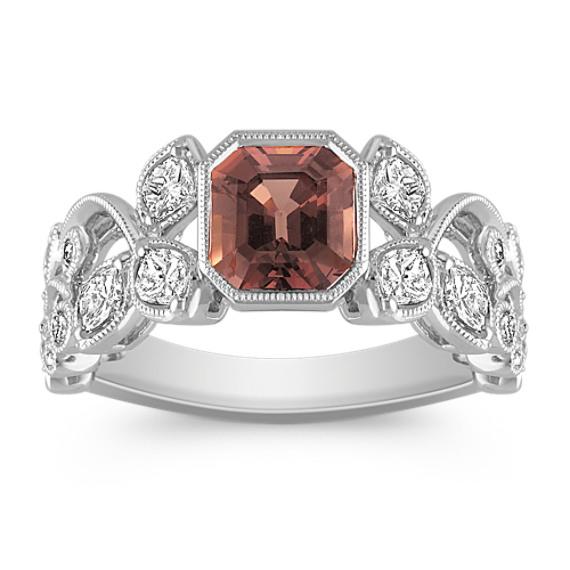 Cushion Cut Cognac Sapphire, Calla Cut and Round Diamond Ring