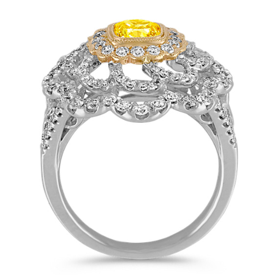 Cushion Cut Fancy Yellow Diamond and Round Diamond Floral Ring in Two-Tone Gold