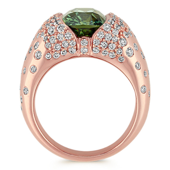 Cushion Cut Green Sapphire and Diamond Ring in Rose Gold