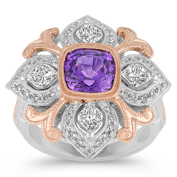 Cushion Cut Lavender Sapphire, Calla Cut and Round Diamond Ring in Two-Tone Gold