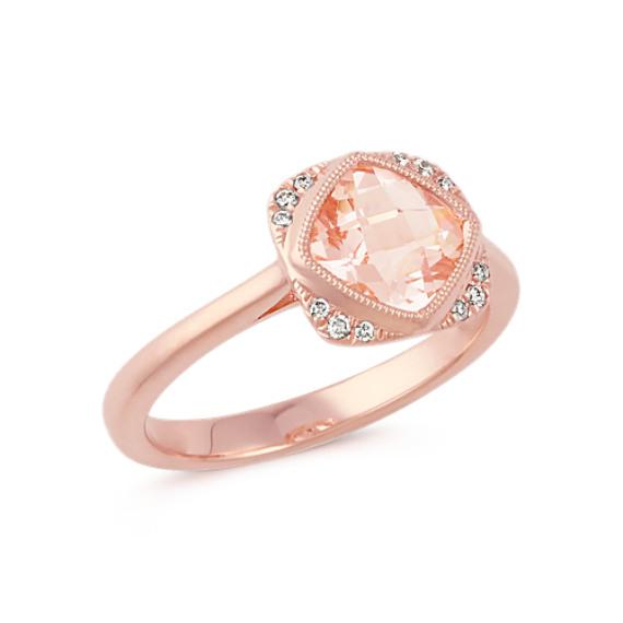 Cushion Cut Morganite and Round Diamond 14k Rose Gold Ring