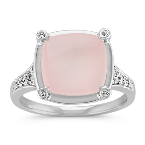 Cushion Cut Pink Quartz and Round Diamond Ring in 14k White Gold