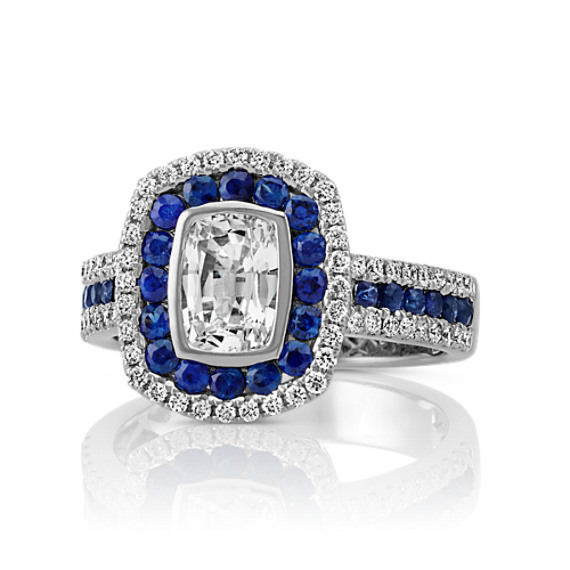 Cushion Cut White Sapphire, Round Traditional Sapphire and Diamond Ring