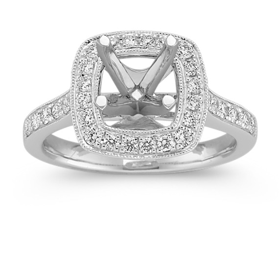 Cushion Halo Diamond Engagement Ring with Pavé Setting
