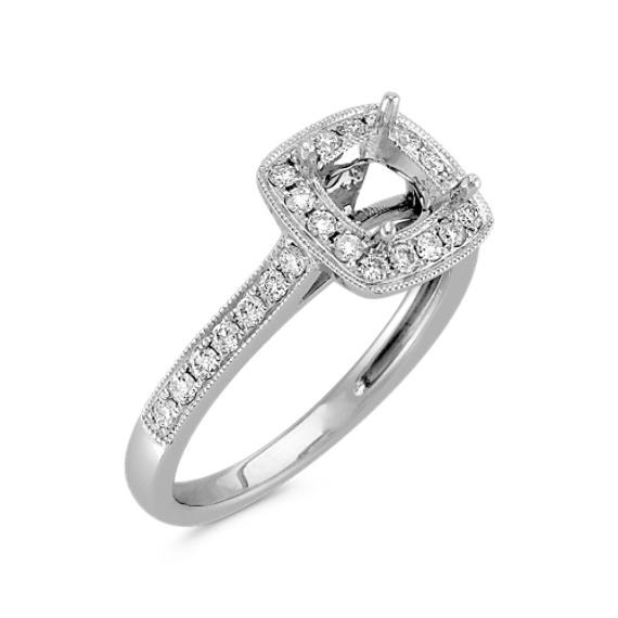 Cushion Halo Diamond Engagement Ring with Pavé Setting