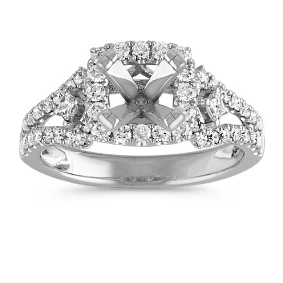 Cushion Halo Engagement Ring with Pavé-Set Diamonds