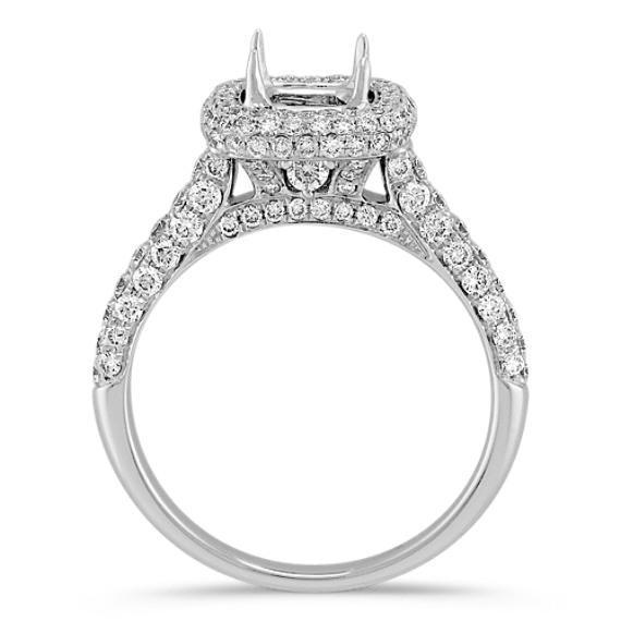 Cushion Halo Engagement Ring with Pavé-Set Round Diamonds