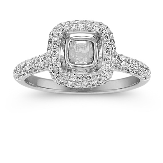 Cushion Halo Engagement Ring with Pavé-Set Round Diamonds