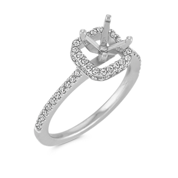 Cushion Halo Platinum Engagement Ring with Pavé-Set Diamonds