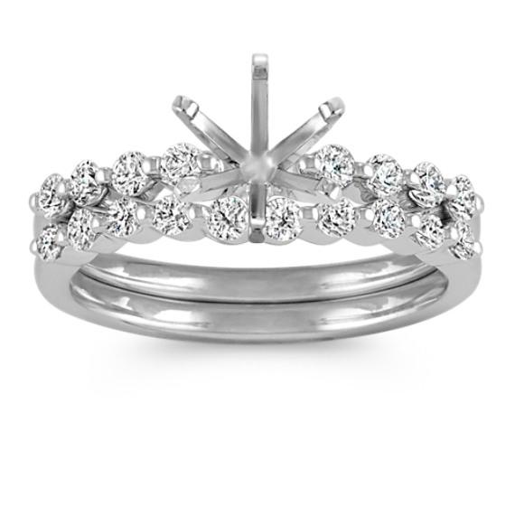 Dainty Round Diamond Wedding Set