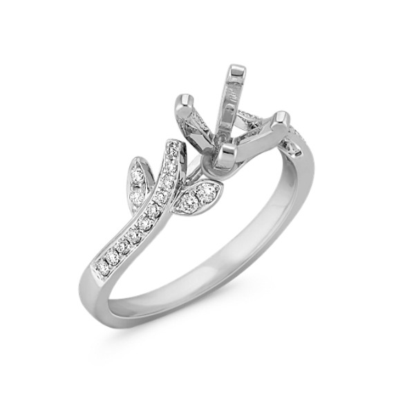 Delicate Floral White Gold Diamond Ring