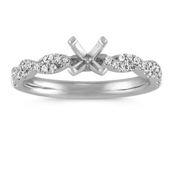Delicate Infinity Diamond Engagement Ring with Pavé-Setting