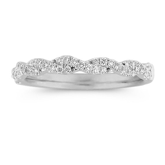 Delicate Infinity Diamond Wedding Band with Pavé Setting