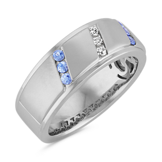 Diagonal Channel-Set Round Ice Blue Sapphire and Round Diamond Ring (8mm)