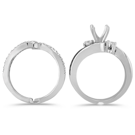 Diamond and Black Ruthenium Wedding Set with Pavé Setting