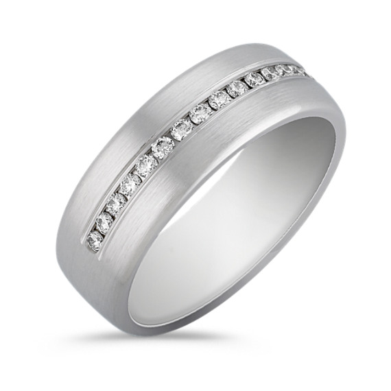 Diamond Channel-Set Ring with Satin Finish