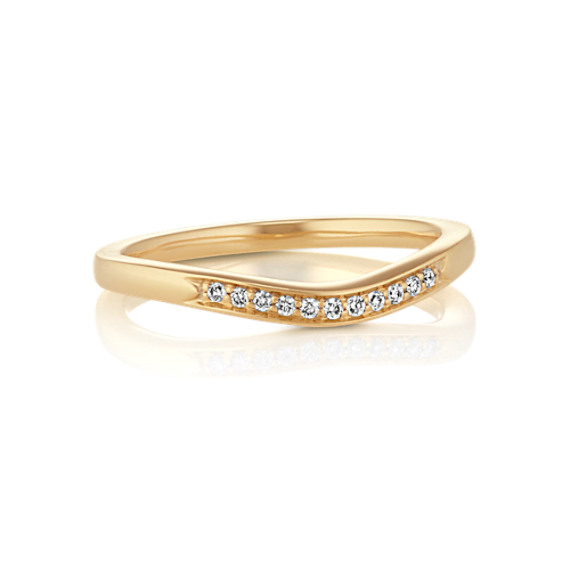 Diamond Contour Wedding Band with Pavé Setting
