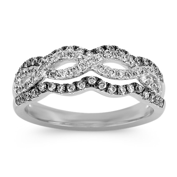 Diamond Crisscross Ring with Black Rhodium
