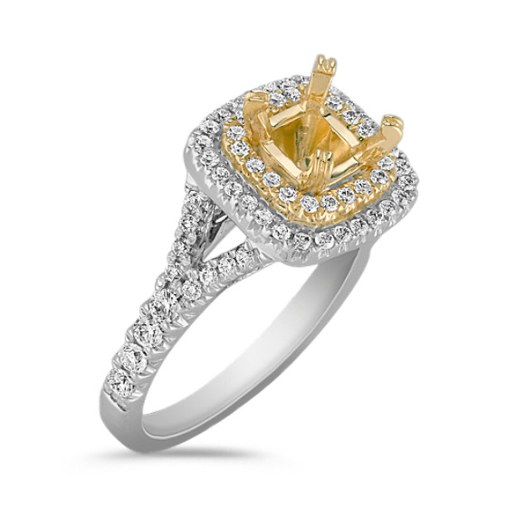 Diamond Double Halo Engagement Ring in Two-Tone Gold with Pavé Setting