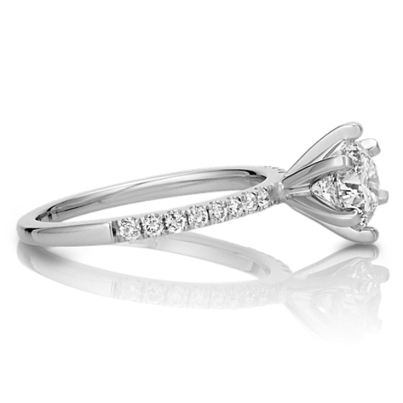 Diamond Engagement Ring with Pavé Setting in 14k White Gold
