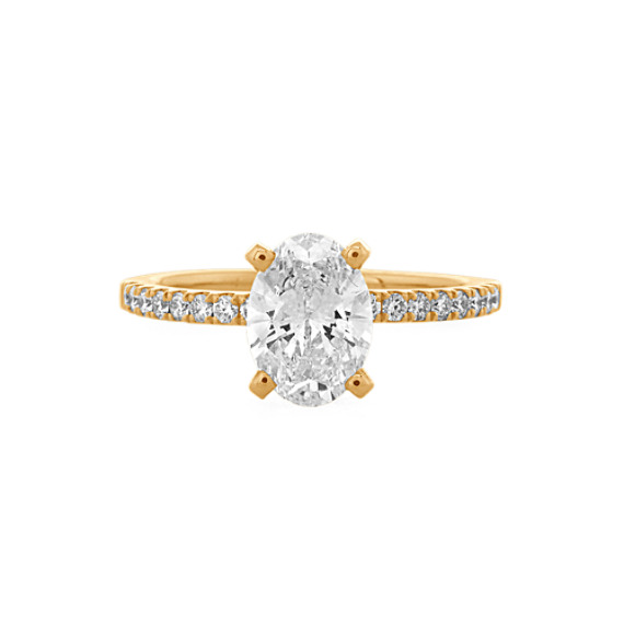 Diamond Engagement Ring with Pavé Setting in 14k Yellow Gold
