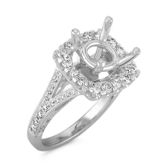 Diamond Halo Engagement Ring with Pavé Setting