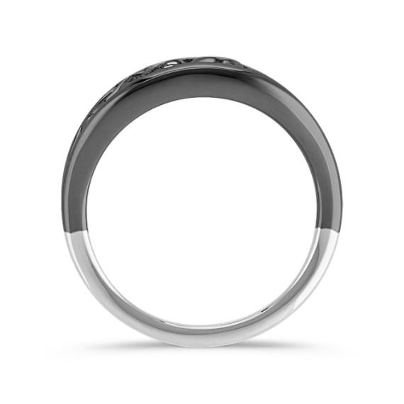 Diamond Heart Ring with Black Rhodium