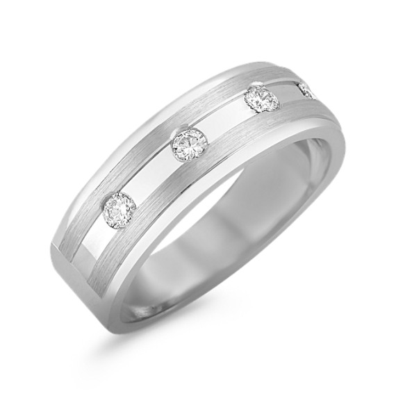 Diamond Men's Ring with Bezel Setting