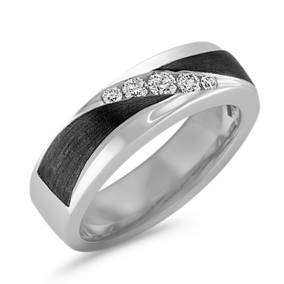Diamond Men's Ring with Black Rhodium