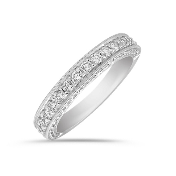 Diamond Platinum Anniversary Band with Pavé Setting
