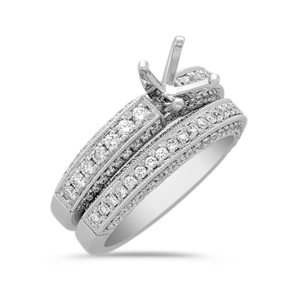 Diamond Platinum Wedding Set with Pavé Setting