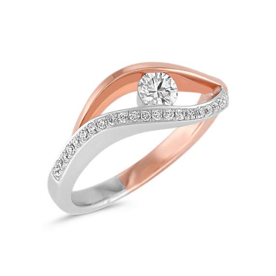 Diamond Ring in 14k Rose and White Gold