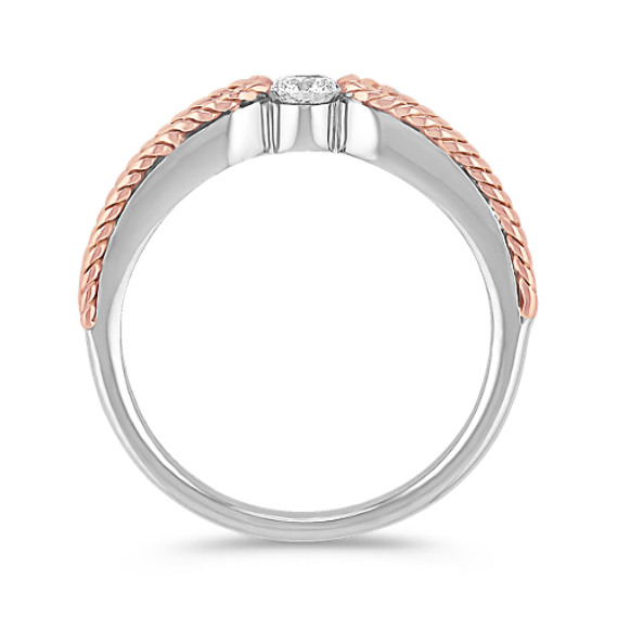 Diamond Ring in Sterling Silver and 14k Rose Gold with Channel-Setting