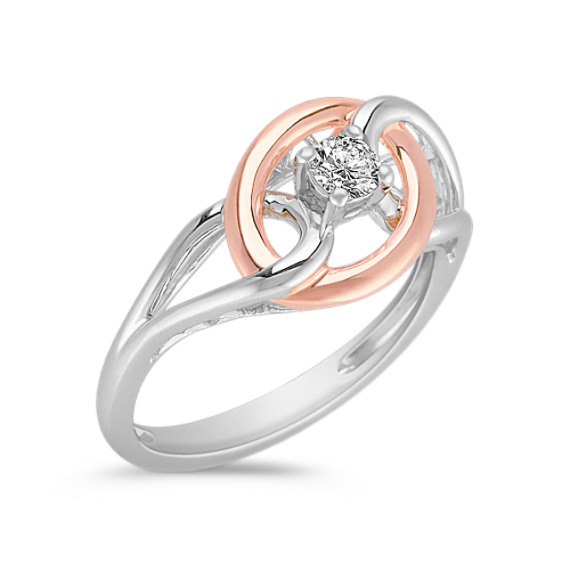 Diamond Ring in Sterling Silver and 14k Rose Gold