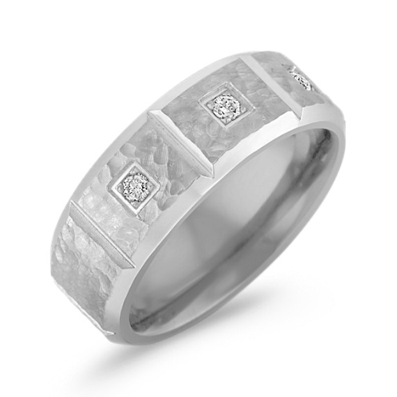 Diamond Ring in Titanium with Hammered Finish (8mm)