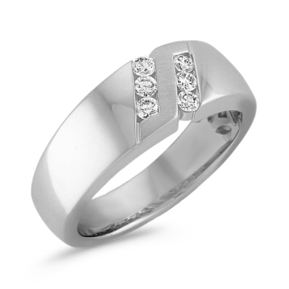 Diamond Ring with Channel-Setting and Satin Finish
