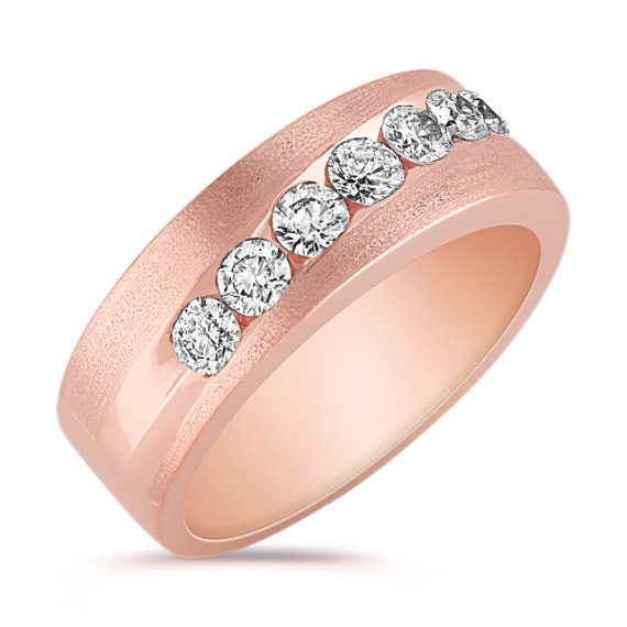 Diamond Rose Gold Wedding Band with Satin Finish