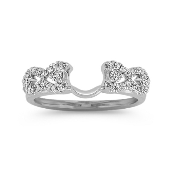 Diamond Solitaire Engagement Ring Wrap with Pavé Setting