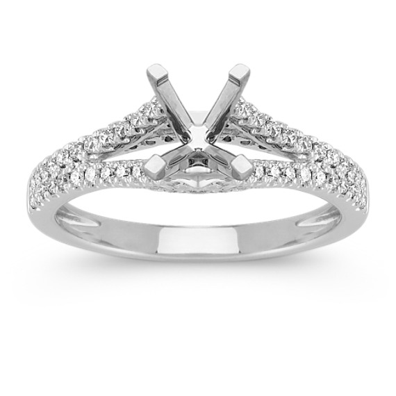 Diamond Split Shank Engagement Ring with Pavé Setting