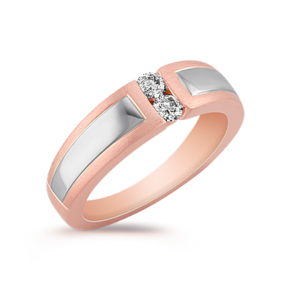 Diamond Two-Tone Gold Wedding Band for Her