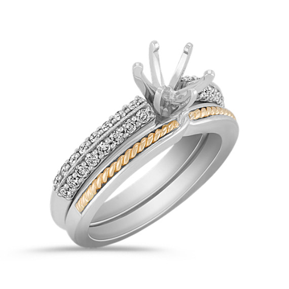 Diamond Two-Tone Gold Wedding Set with Pavé Setting