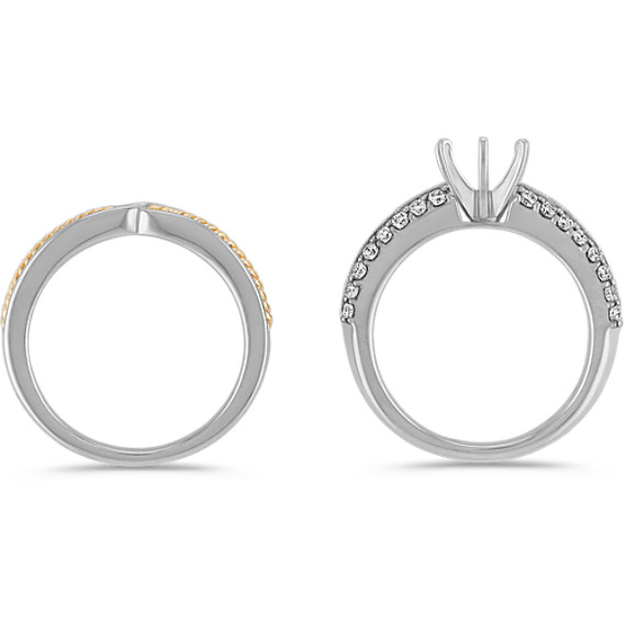 Diamond Two-Tone Gold Wedding Set with Pavé Setting