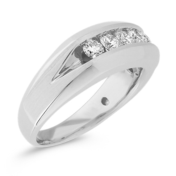 Diamond Wedding Band in 14k White Gold (6mm)