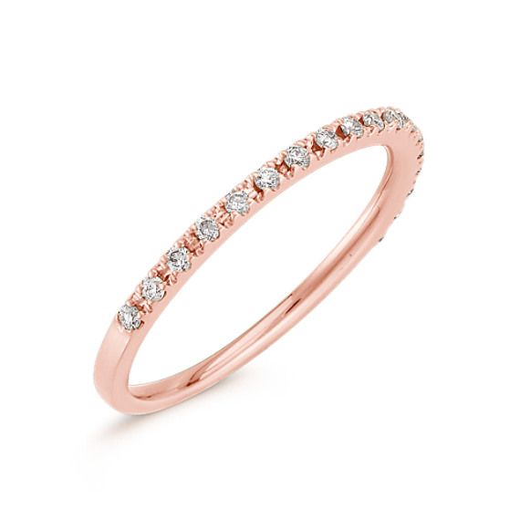 Diamond Wedding Band in Rose Gold with Pavé Setting