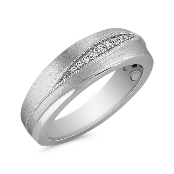 Diamond Wedding Ring with Satin Finish and Milgrain Detailing (8mm)