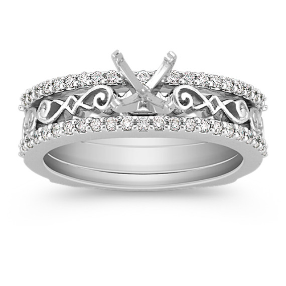 Diamond Wedding Set for Her with Pavé Setting