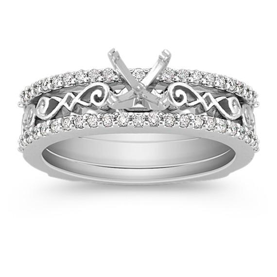 Diamond Wedding Set for Her with Pavé Setting