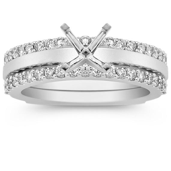 Diamond Wedding Set with Pavé Setting